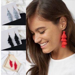Black Three Tier Curtain Earrings Brand New NWT